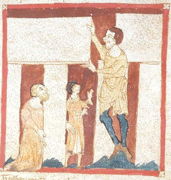 A giant helps Merlin build Stonehenge. From a manuscript of the Roman de Brut by Wace in the British Library (Egerton 3028). This is the oldest known depiction of Stonehenge.
